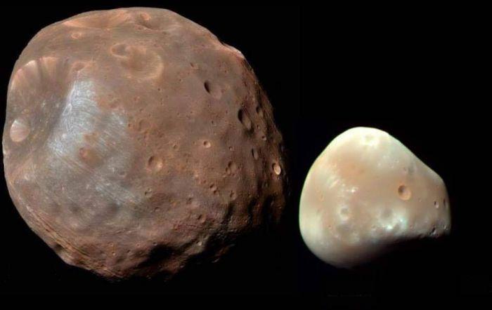 As duas luas de Marte: Fobos (à esquerda) e Deimos (à direita) - (Foto: Nasa)